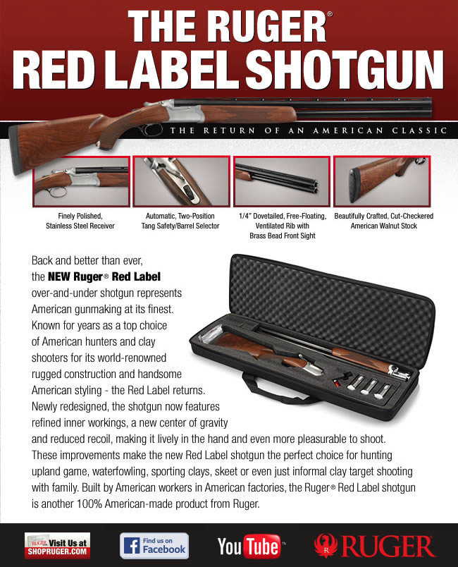 """STOCK  Beautifully crafted, cut-checkered American Walnut stock features a traditional pistol grip, tapered, slim forend and a stainless steel latch release. A soft Pachmayr® buttpad is mounted on the 14.5"""" length of pull stock, which features a 1.5"""" drop at the comb and a 2.5"""" drop at the heel.  Back and better than ever, the NEW Ruger® Red Label over-and-under shotgun represents American gunmaking at its finest. Known for years as a top choice of American hunters and clay shooters for its world-renowned rugged construction and handsome American styling - the Red Label returns. Newly redesigned, the shotgun now features refined inner workings, a new center of gravity and reduced recoil, making it lively in the hand and even more pleasurable to shoot. These improvements make the new Red Label shotgun the perfect choice for hunting upland game, waterfowling, sporting clays, skeet or even just informal clay target shooting with family. Built by American workers in American factories, the Ruger® Red Label shotgun is another 100% American-made product from Ruger."""