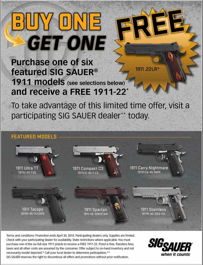 Buy one Sig Sauer 1911  Get One Free - Limited Time Sales