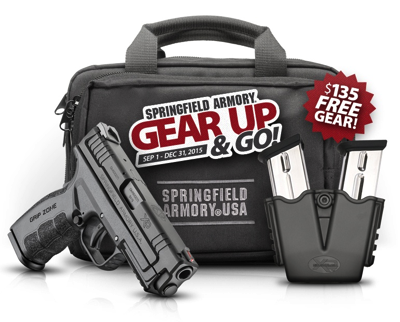 Receive two extra magazines, a dual-pistol range bag and a double-mag pouch FREE with the purchase of ANY new Springfield Armory® pistol!