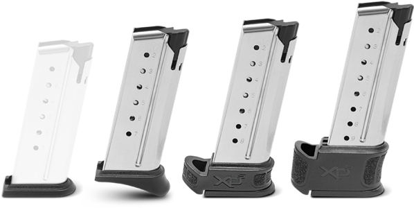 10 ROUNDS OF RELIABILITY The XD-S Mod.2® ships with two stainless steel magazines: a 7-round mag with a pinkie rest and additional flush floor plate for carry and one 9-round extended magazine – perfect for home defense. An 8-round extended magazine is also available for purchase. XD-S Mod.2® magazine sizes FLUSH PLATE7 ROUND8 ROUND9 ROUND