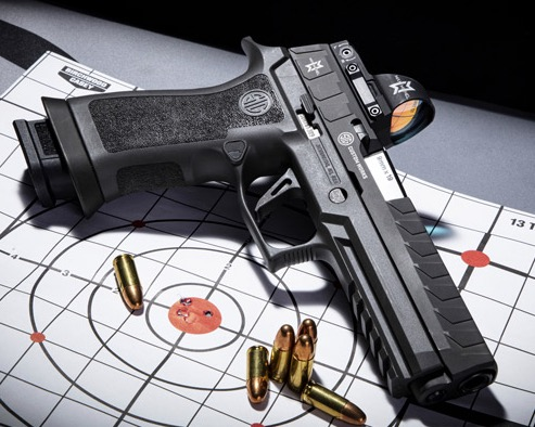 the P320MAX is a 9mm striker-fired pistol optimized for competition at the highest level, specifically in the popular Carry Optics division.